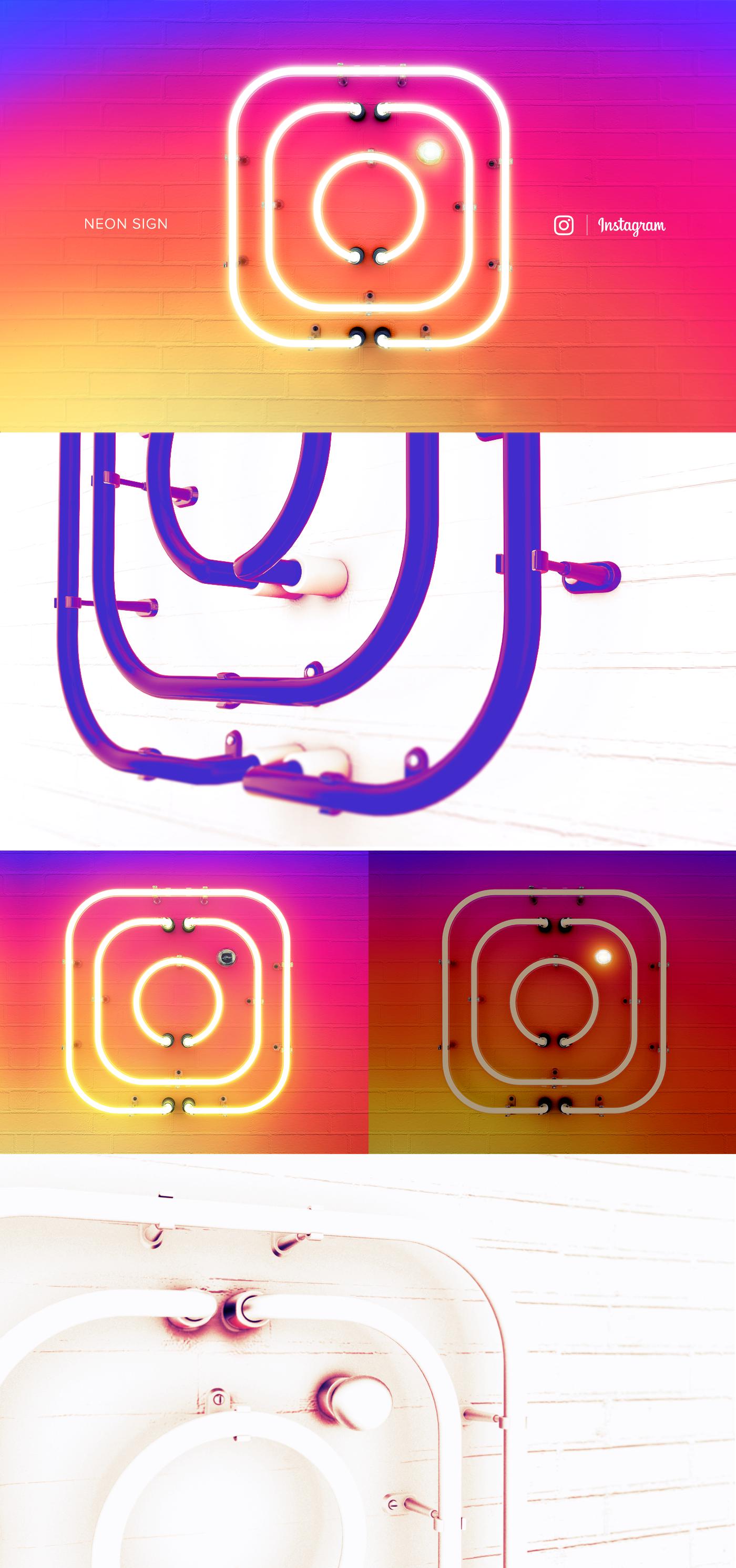 Instagram Logo Neon 3D
